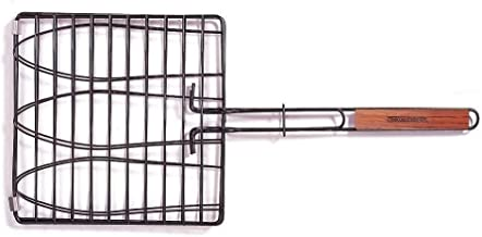 Charcoal Companion SS-100-40 Triple Fish Grilling Basket / 11 by 11 inches – Barbecue Fish Easily