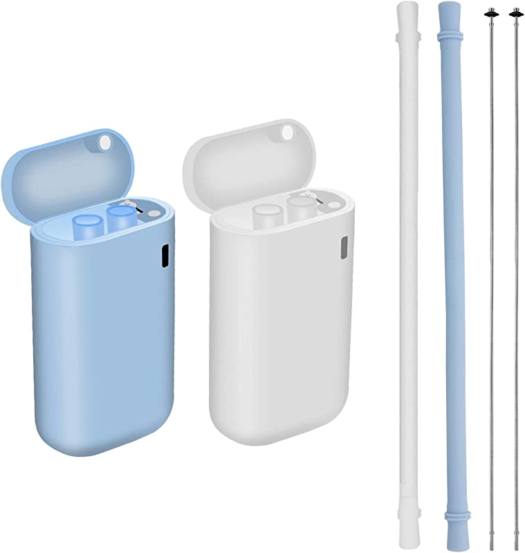2 Pack Reusable Silicone Collapsible Straws Straws Portable Drinking Straw With Hard Case Holder And Cleaning Brush For Party Travel Household Outdoor White Blue