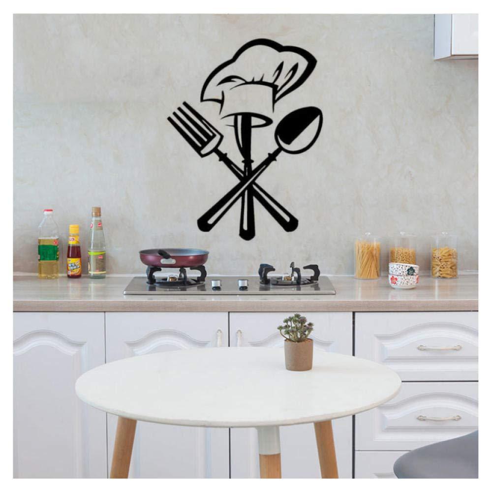 Coutellerie créative couteau fourchette chef chapeau Sticker mural
