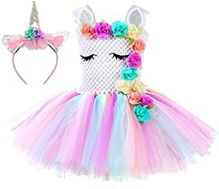 Unicorn Costume for Girls 1-12Y with Headband 4 Designs