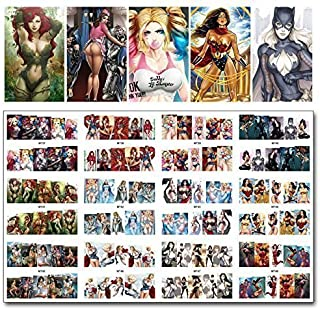 12 sets anime manga kawaii cosplay dbz Japanese tokyoghoul NAIL DECALS marvel black panther comic pin up girl water transfer nail stickers tattoo nail design acrylic nail accessories nail vinyls