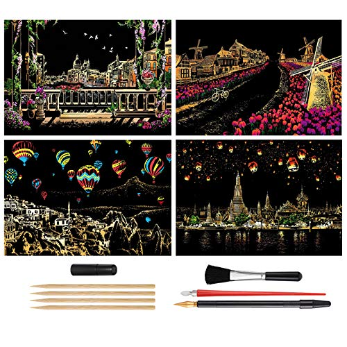 Scratch Painting Kits, Craft Art Set for Adults & Kids, Rainbow Scratch Painting Paper, Sketch Pad DIY Scratchboard Gift,16'' x 11.2''-with 8 Tools(Venice/Holland Windmill/Hot Air Balloon/Chiang Mai)