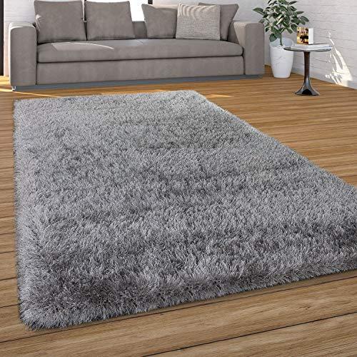 Paco Home Hochflor Teppich Wohnzimmer Shaggy, Pastell Farben, Weicher Soft Garn, Einfarbig, Grösse:160x230 cm, Farbe:Grau