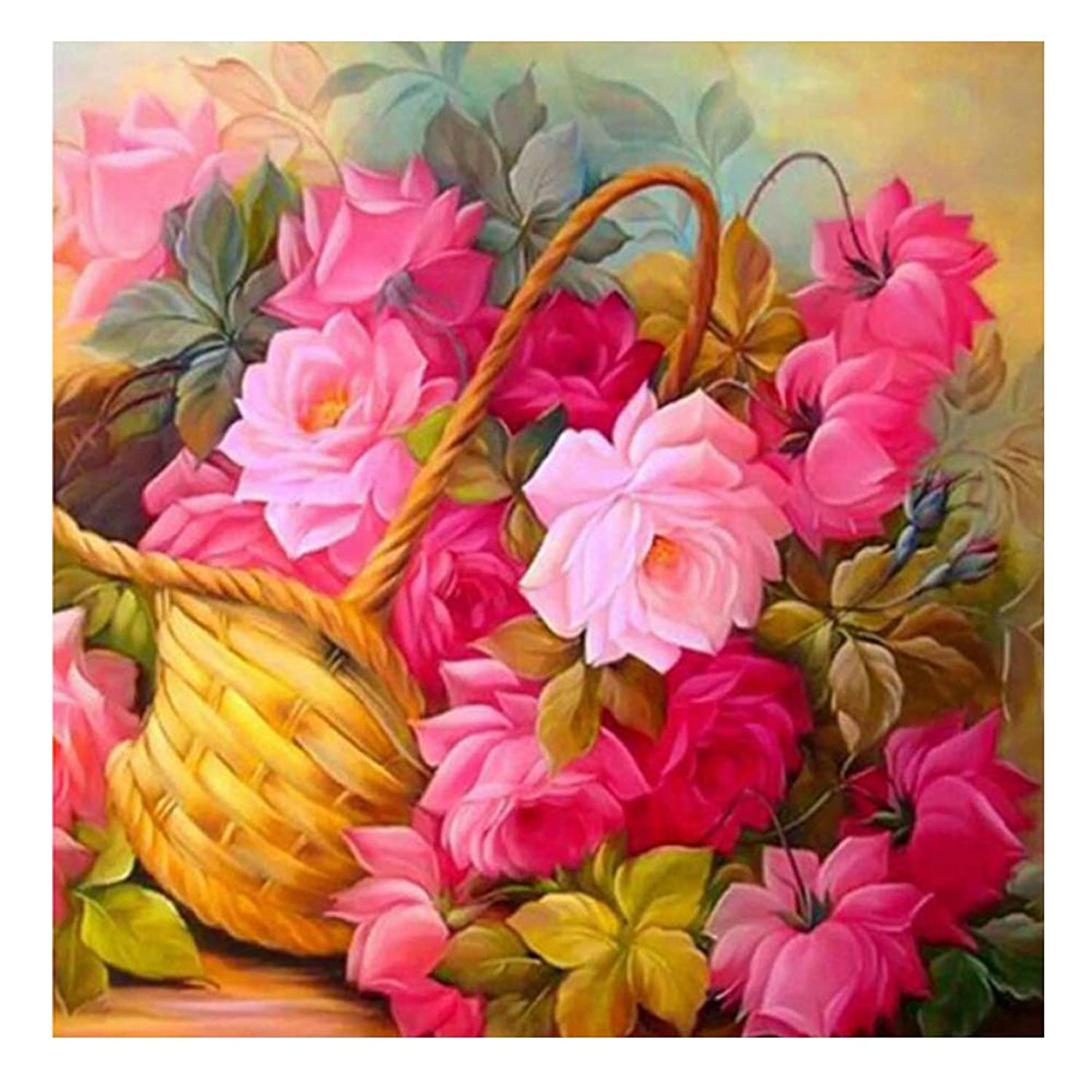 Flowers Diamond Painting 5D DIY Full Drill Diamond Drawing by Numbers Kits 11.8 x 11.8Inch