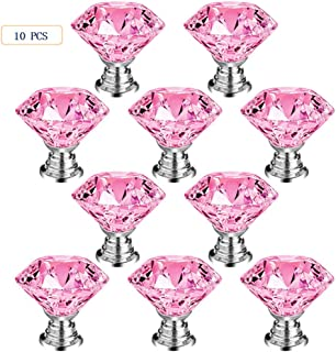 CSKB 4PCS 30mm Pink Crystal Knob Drawer Pull Handle for Cabinet Kitchen Decoration Hardware
