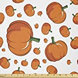 Ambesonne Harvest Fabric by The Yard, Halloween Inspired Pattern Vivid Cartoon Style Plump Pumpkins Vegetable, Stretch Knit Fabric for Clothing Sewing and Arts Crafts, 1 Yard, Orange Green White