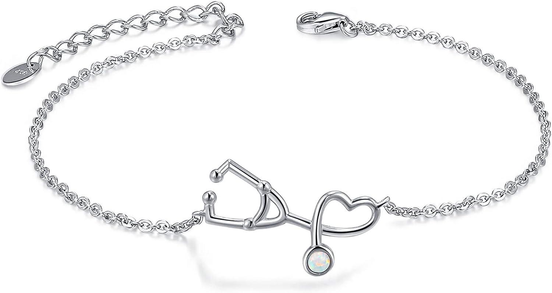 Opal Bracelet 925 Sterling Silver Synthetic Opal Bracelet Opal B
