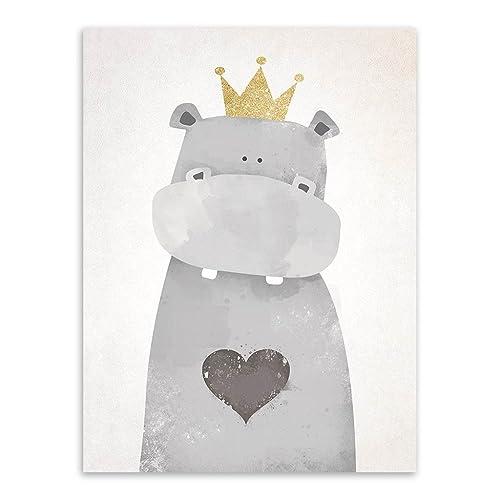 Nordique Mignon Animaux estampes Affiches Toile Polaire Ours/Hippopotame/manchot Dessin animé Wall Art Peintures Bébé Enfants Garderie décoration Sans cadre PTWC003-M