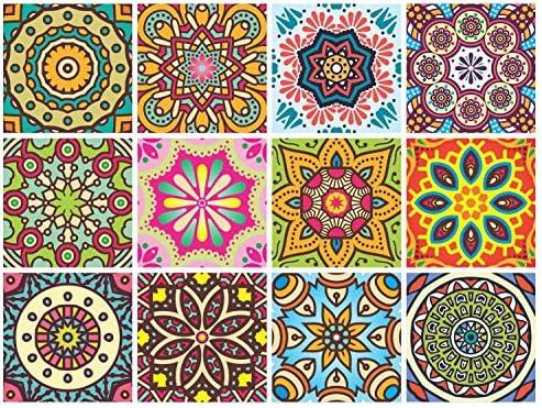 Mandala Decorative Stickers Pack of 24 6x6 Inch Backsplash Peel and Stick Vinyl Tile Decals product image