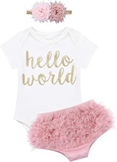 inlzdz Baby Girls 3 Pcs Hello World Outfit Cotton Romper Ruffles Panty Flower Headband Birthday Set