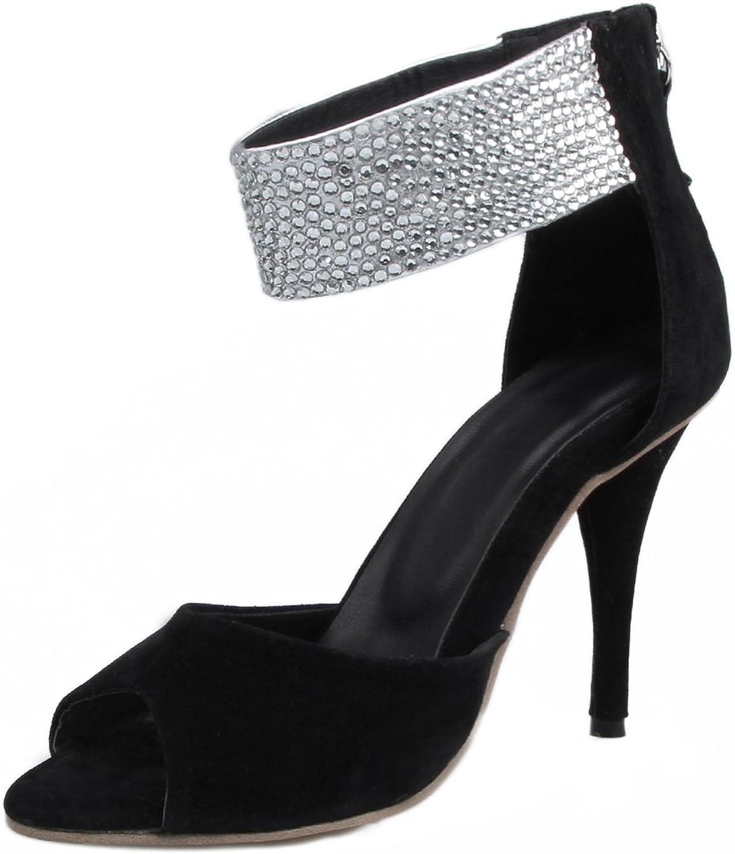 TDA Women's Simple Ankle Strap Rhinestones Suede Evening Party Dress Stiletto Sandals