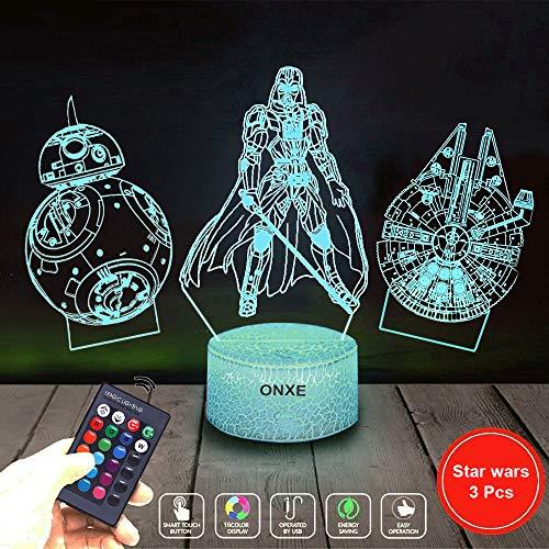 3D Star Wars Nachtlicht, 16 Farben wechselnde Nachtlichter mit Fernbedienung und Smart Touch, Weihnachts- und Geburtstagsgeschenk für Kinder und alle Star Wars Fans Star Wars Serie