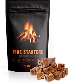 Fire Starter Cubes 25 Count, Natural & Eco Friendly, Water Proof, Perfect for: BBQ Grill, Gas Grill, Campfire Grill, Camping Gear, Camp Fire Cooking, Emergency Survival Kit, Fireplace & BBQ