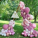 Arco de globo para fiesta de cumpleaños, decoración de gas 97 Maca rosa rosa rojo globo metal dorado látex globo niña bebé ducha boda despedida