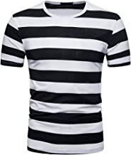 Sunmoot Striped Basic T Shirt for Mens Short Sleeve Crewneck Summer Casual Slim Fit Top Blouse Pullover