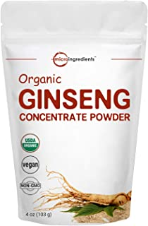 Maximum Strength Organic Ginseng Root 200:1 Powder, 4 Ounce, Red Panax Ginseng Powder, Active Ginsenosides to Support Ener...
