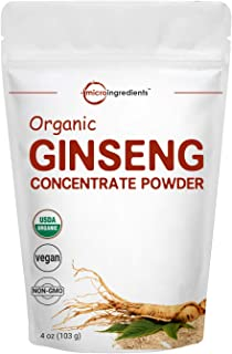 Maximum Strength Organic Ginseng Root 200:1 Powder, 4 Ounce, with Active Ginsenosides to Support Energy, Immune, Mental Health and Physical Performance, No Irradiated, No GMOs and Vegan Friendly