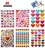 Pegatinas Corazones, 60 hojas Etiquetas Adhesivas Pegatina del Colorido para aniversarios, San Valentín, boda, Scrapbooking DIY(Colorido)