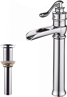 BWE Commercial Waterfall Single Handle Deck Mount Bathroom Vessel Sink Faucet Tall Body Chrome Finish One Hole