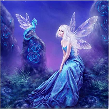 Adminsss DIY Digital Oil Painting Lotus fairy Painting by Numbers Kit Pre-Printed Canvas Kit by numbers for Adults kids home decoration kids gifts 40x50cm Frameless Lotus fairy