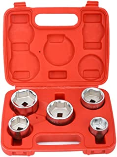 Oil Filter Socket Remover, Delaman Metal Oil Filter Socket Remover Removal Tool Cup Type, 24mm-38mm, 5pc Set