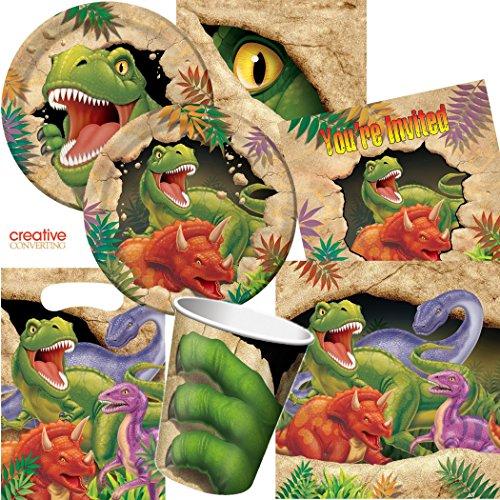 101-delige dinosaurus partyset voor kinderverjaardag met 8 kinderen: borden, bekers, servetten, uitnodigingen, feestzakken, tafelkleden, luchtslangen, ballonnen, enz. // Dino Dinos T-Rex Dino-alarm zure gevaarlijke vleeseten.
