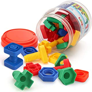LotFancy Jumbo Nuts and Bolts Fine Motor Skills, Occupational Therapy Toddler Toys with Storage Case, 24PCS Montessori Building Construction Set Kids Matching Game for Preschoolers Boys Girls