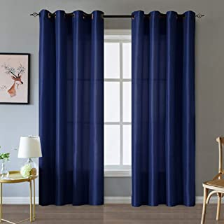 Valea Home Faux Silk Satin Window Curtains for Living Room 84 inch Long Light Reducing Curtain Panels Bedroom Grommet Top Drapes Window Treatment Set, 2 Panels, Navy Blue
