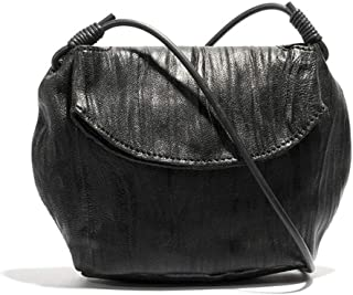 Small round bag, mini bag, dark crossbody bag, simple shoulder bag, pleated magnetic female bag, black gourd bag, canvas lining (Color : Black, Size : One size)
