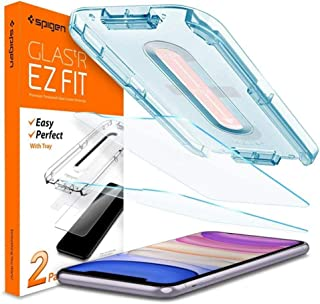 iPhone 11 / iPhone XR [6.1 inch] Tempered Glass Screen Protector (2 packs) Glas.tR EZ Fit Designed, Case Friendly, spigen