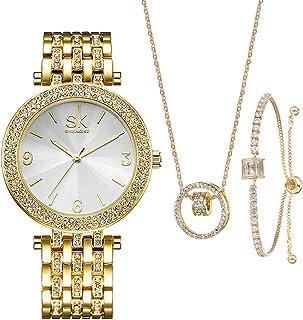 Women Watches Sets Gifts For Mom Wife Girlfriend Quartz Wrist Watch Necklace Bracelet Set
