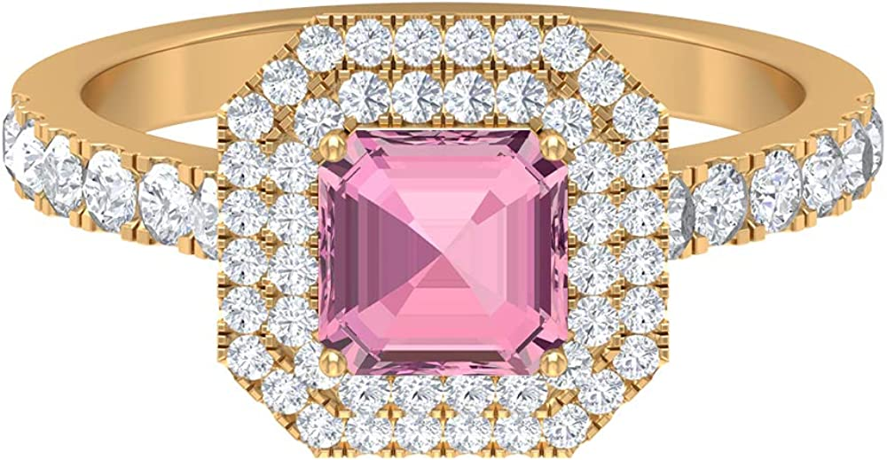 2.08 CT Pink Tourmaline Solitaire Double D-VSSI Moissanite Ring 5 Excellence ☆ popular