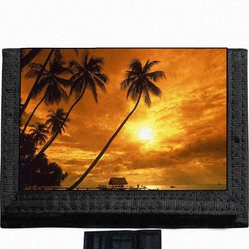 Scenic Tropical Beach Ocean Black TriFold Nylon Wallet Great Gift Idea