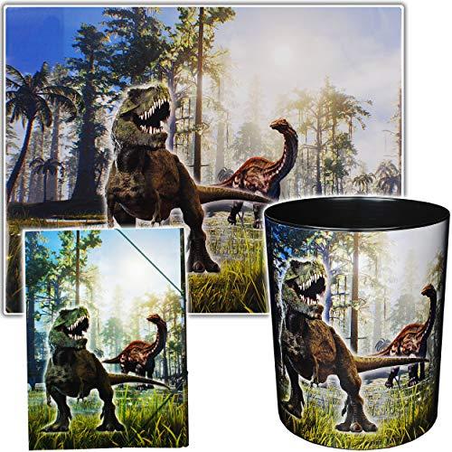 alles-meine.de GmbH 3 TLG. Set _ Schreibtischunterlage & Papierkorb & Sammelmappe - Dinosaurier - Dino T-Rex - Schreibtischset - Unterlage - 50 cm * 39 cm - abwischbar - Mülleime..