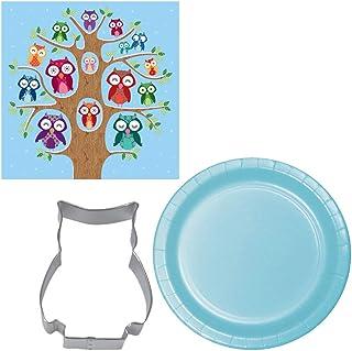 Owl Family Napkin & Plate Party Bundle (Blue)