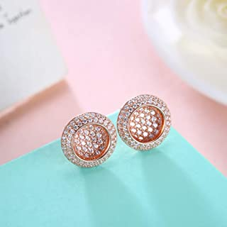 Home European and American Jewelry s925 Sterling Silver Fashion Round Diamond Stud Earrings Female Silver Earrings (Color : Rose) Earrings Gift (Color : Rose)