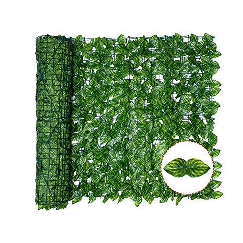 Hidyliu 1 Rolle Künstliche Hecke, Künstlicher Efeu Sichtschutz Zaun, Grün Gartensichtschutz, Wassermelonenblatt Dekoration, UV-Schutz, für Outdoor, Garten, Terrasse und Hinterhof(0.5 x 3 Meter)