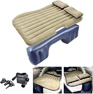 Yescom Inflatable Mattress Car Air Bed Backseat Cushion Travel Camping with 2 Pillows Electric Pump Carry Bag Khaki