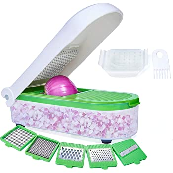 LHS Vegetable Chopper, Pro Onion Chopper Slicer Dicer Cutter - Cheese & Veggie Chopper - Food Chopper Dicer with 5 Blades