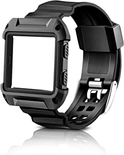 Fitbit Blaze Band, MAIRUI Replacement Wristband Protective Rugged Frame and Strap for Fitbit Blaze Fitness Smart Watch (Black)