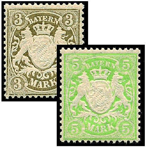 Goldhahn Bayern Nr. 69+70 postfrischStaatswappen - Briefmarken für Sammler
