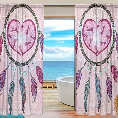 TropicalLife iRoad - Cortinas de gasa con diseño de atrapasueños, con forma de corazón, para sala de estar, dormitorio, decoración del hogar, 2 paneles de 139,7 cm de ancho x 84 L