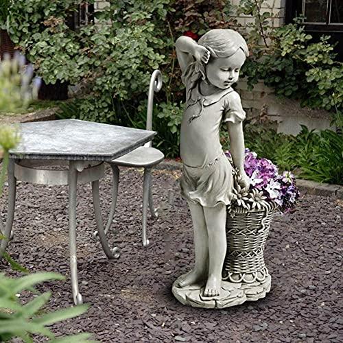 Estatua de niña de jardín Figuras de Flores Cesta Estatua de jardín de Piedra Decoración de jardín al Aire Libre, Decoraciones de Patio de césped, 21 Pulgadas