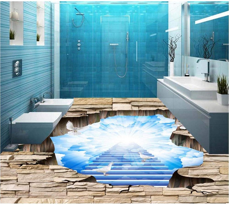 ordene ahora los precios más bajos Qqasd Papel pintado 3d 3d 3d para pisos, pvc, vinilo, azulejo azul, árboles, autoadhesivo, PVC, vinilo, pisos, murales-190X130CM  mejor opcion
