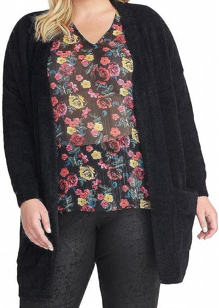 RACHEL Rachel Roy Women's Sweater Plus Amara Cardigan Black 2X