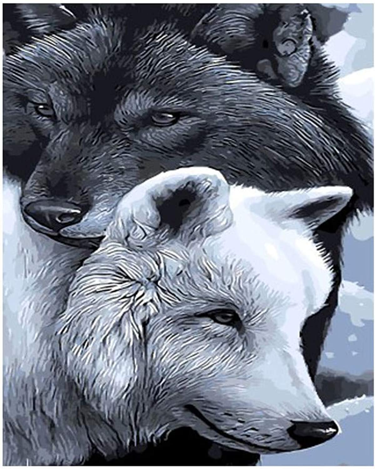 Jigsaw Puzzle 1000 Piece Black Wolf and White Wolf Classic Puzzle DIY Kit Wooden Toy Unique Gift Home Decor