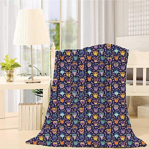 Kpaoaz Decke mit Eulen-Motiv, strapazierfähig, Bedruckt, Blätterzweige und kleine Sterne, süße Comic-Vögel, bunt, reichhaltig, romantische Ornamente für Schlafzimmer, 99 x 125 cm (B x L) 152 x 203 cm