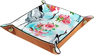 Watercolor Cranes Roses Lilies and Lotuses Flowers Valet Tray Storage Organizer Box Coin Tray Key Tray Nightstand Desk Microfiber Leather Pouch,16x16cm