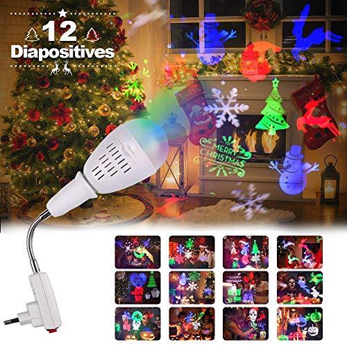 Projecteur de Noël, LED Lampe Projecteur de Noel avec 12 Diapositive, Lumière Projecteur Extérieur et Intérieur avec Télécommande pour Halloween/Noël/Anniversaire/Soirée Décoration