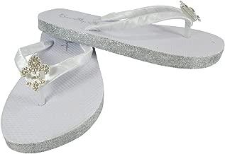 Fleur de Lis Rhinestone Centerpiece Flat Glitter White Flip Flops Silver Gold Champagne Rose Gold